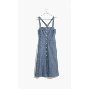 Madewell Chambray Tank Button Front Apron Dress
